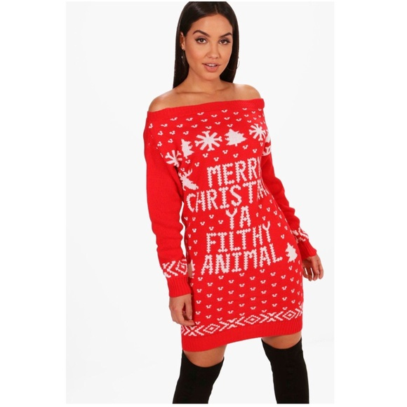 f512c7f6297 Boohoo Dresses   Skirts - Boohoo off shoulder Christmas sweater dress
